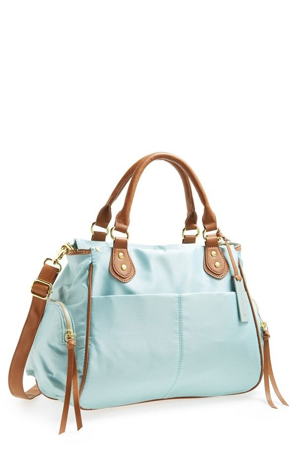 Travelling smart with this mint Steve Madden nylon satchel.