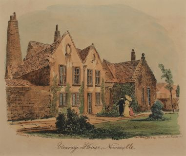 "Vicarage House, Newcastle, c.1830 Moses Aaron Richardson (1793-1871) after Thomas Miles Richardson Etching with hand colouring In a cream conservation grade mount (matt) In very good condition Engraving: 18.2 x 21.8 cm (visible); mount: 28 x 35.5 cm (11"" x 14"")"