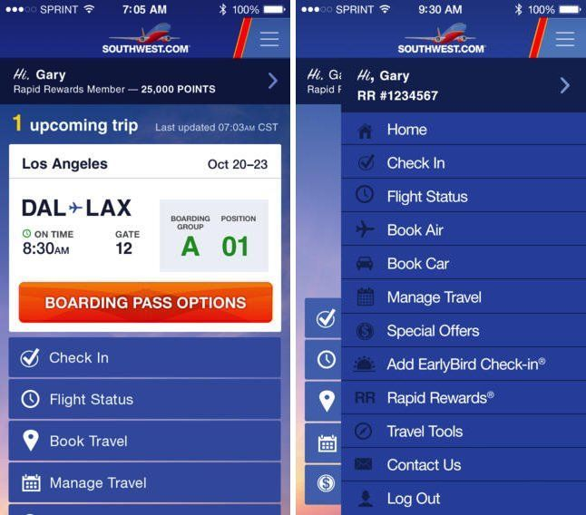 Southwest Airlines app adds mobile boarding pass support