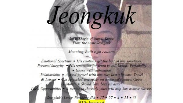 Meaning of the Korean boy name Jeongkuk is built right ...