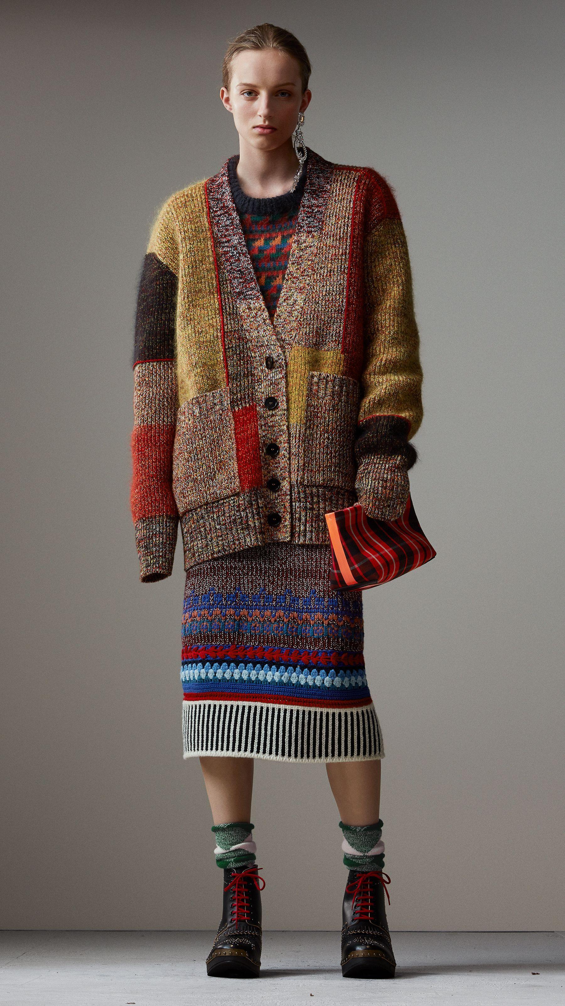 Wool Linen Mohair Blend Mouliné Oversized Cardigan in Multicolour - Women  938b0092b00a