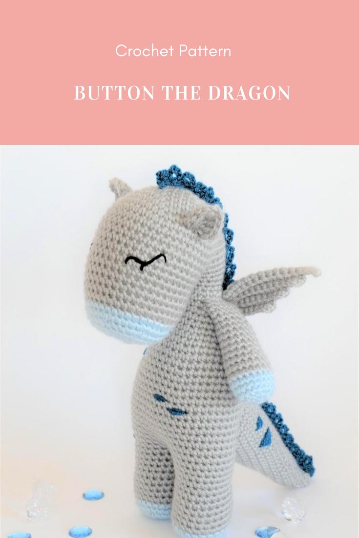 Crochet Amigurumi Button the Dragon Stuffed Animal PDF PATTERN ONLY Toy #crochetedkitemsthatsell