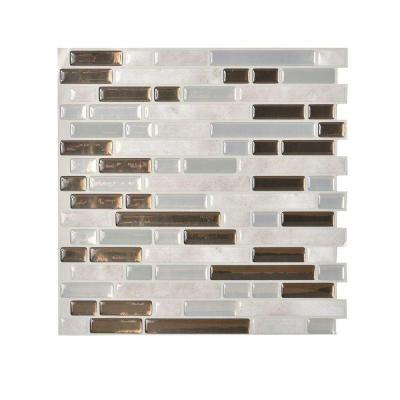 Smart Tiles 10 in. x 10.125 in. Peel and Stick Bellagio Grigio ...