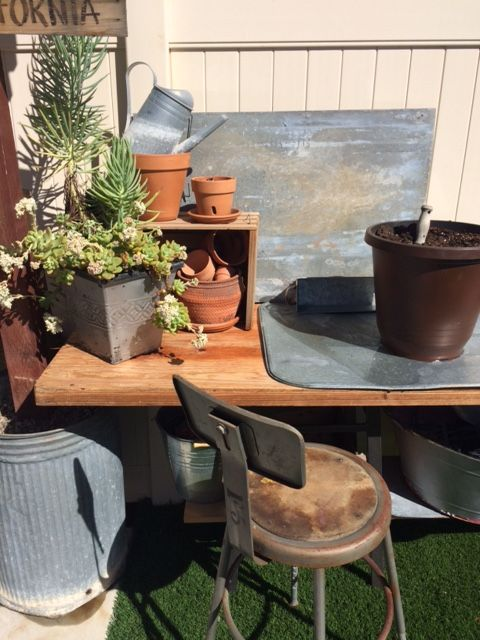 Superb Detail Of The Backyard Potting Bench Wood Galvanized Caraccident5 Cool Chair Designs And Ideas Caraccident5Info