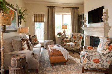 Cozy family room with TV above fireplace and chairs facing ...
