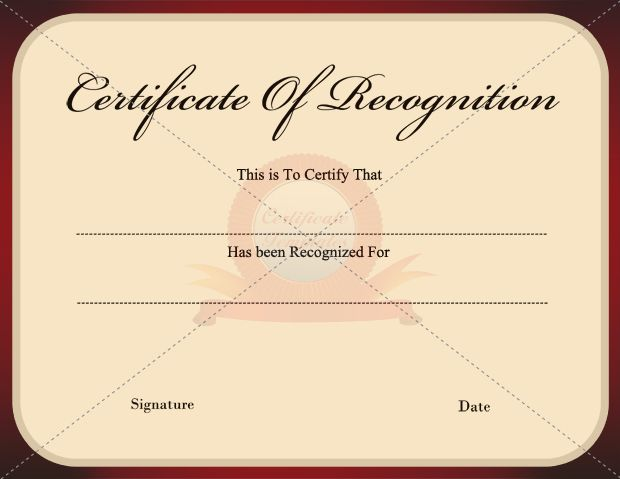 Recognition Certificate RECOGNITION CERTIFICATE TEMPLATES - blank certificate of recognition