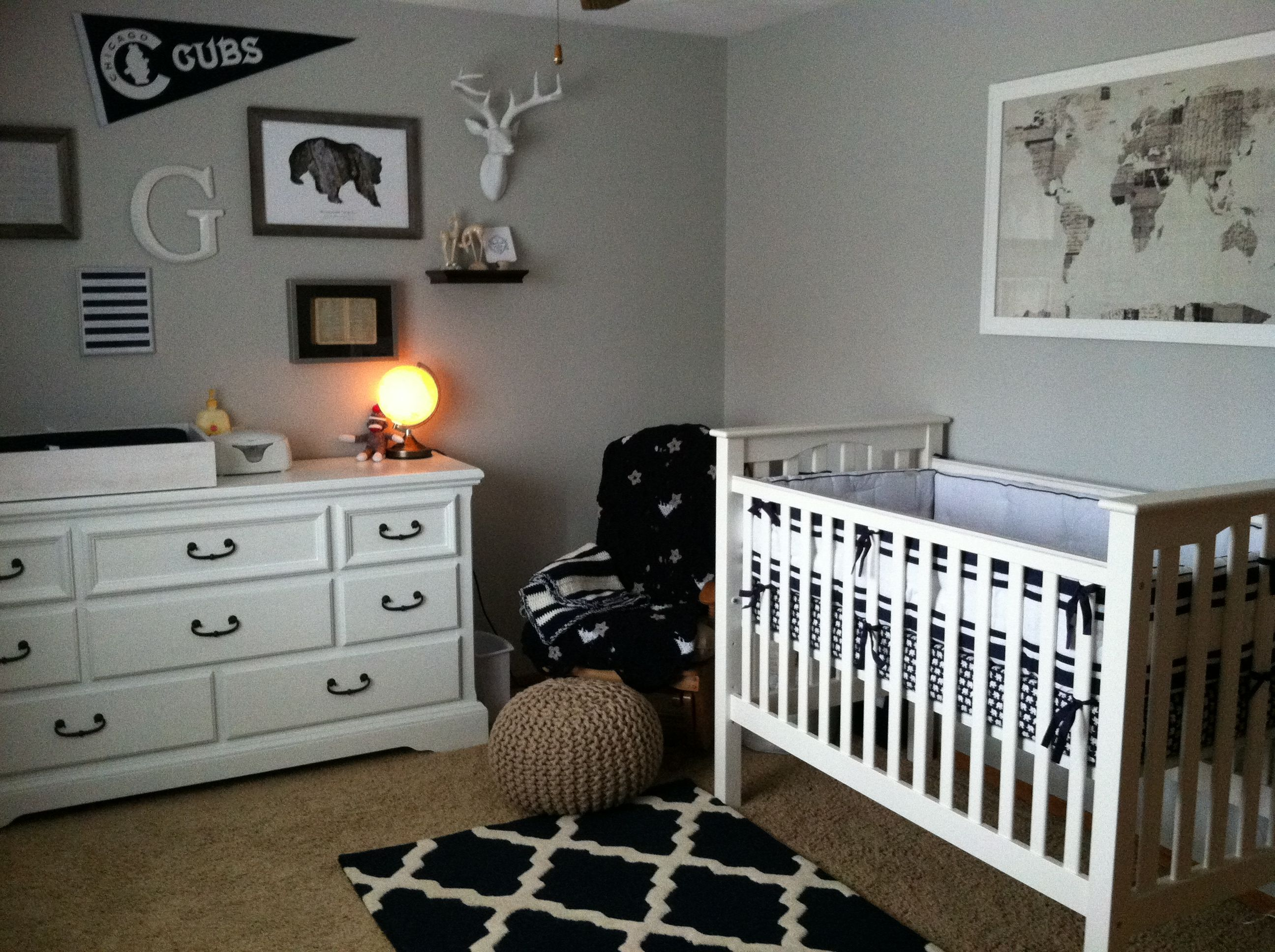 Jack\'s Navy Nursery - finalized with pottery barn crib and Harper ...