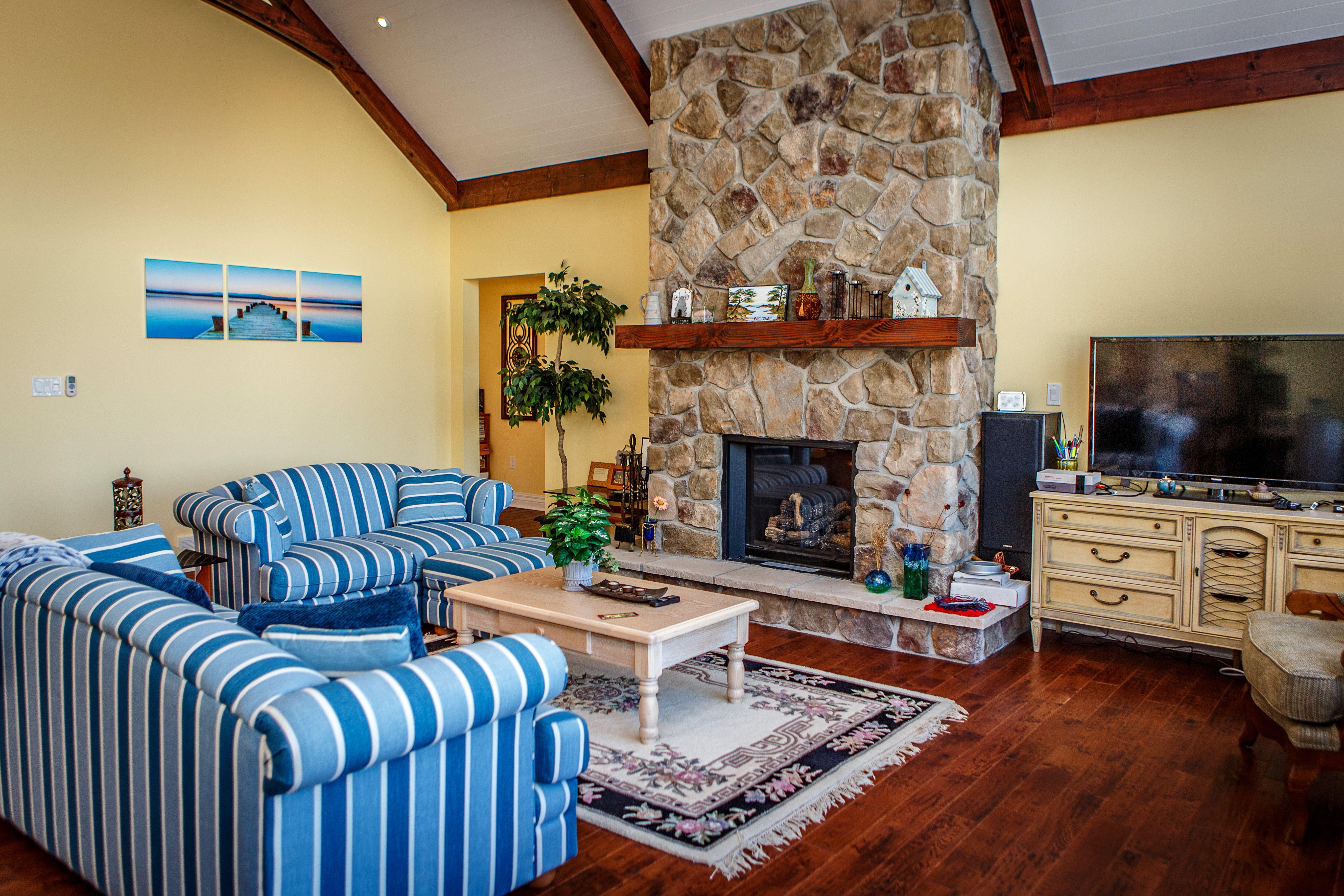 Snug Harbour Cottage   Interior   Great Room   Custom Stone Fireplace    Cedarland Homes