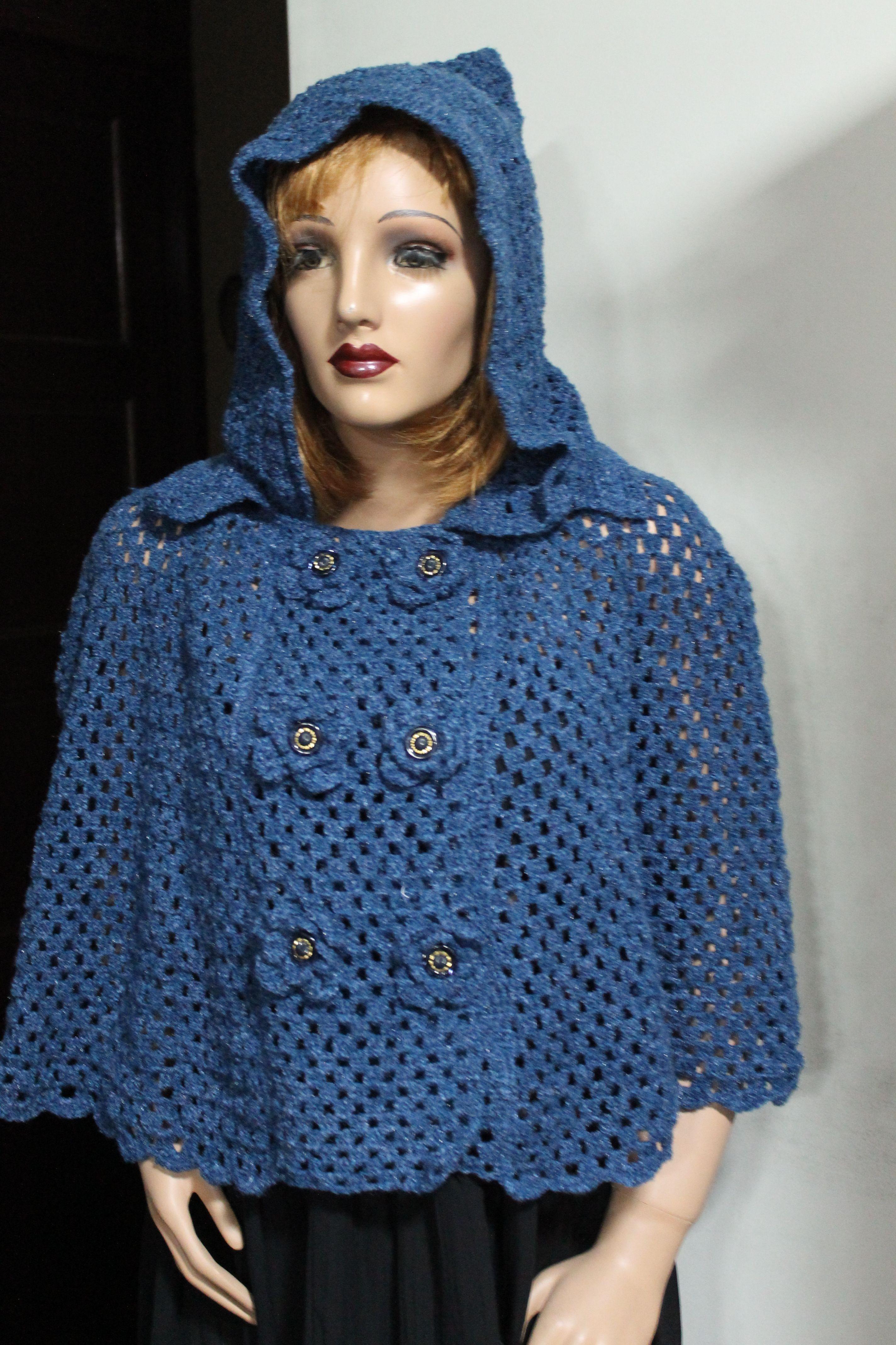nueva precios más bajos mas fiable elige auténtico capa con capucha y botones delanteros. | crochet-ropa tejida ...