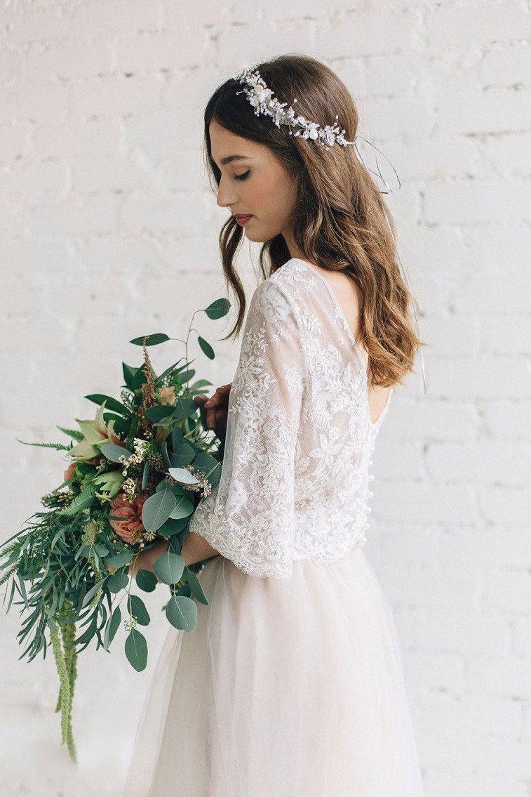 Bohemian Bridal Lace Crop Top Wedding Dress