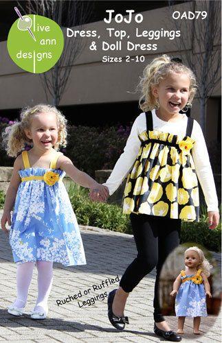 JoJo Girls Dress Top Leggings Dolldress Pattern Sz 2 to 10 Olive Ann Designs | eBay