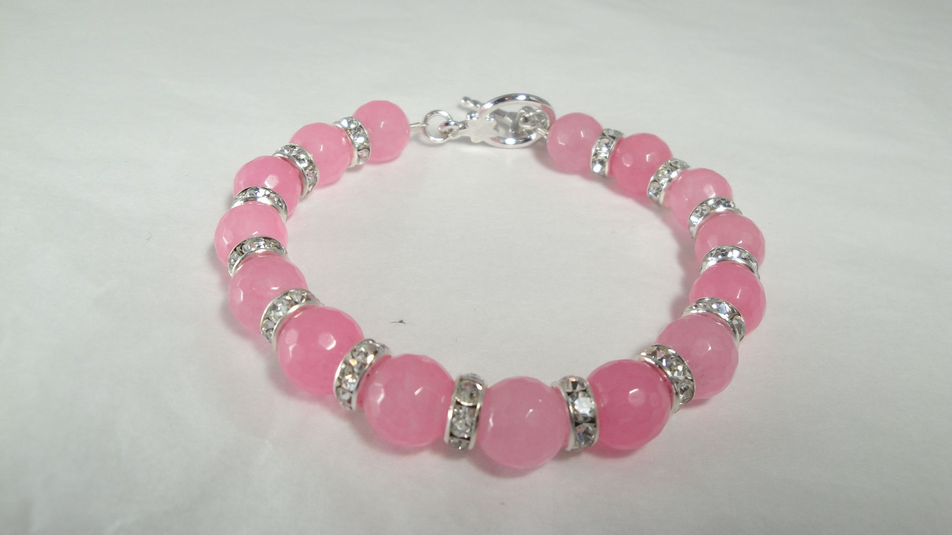 Rose Quartz bracelet has a matching necklace or can be bought separately. Facebook Annwyl.Designs.