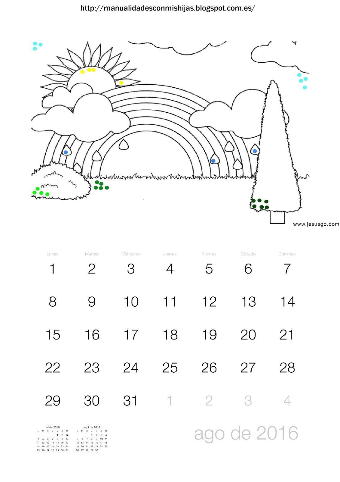 Manualidadesconmishijas: Calendario 2016 colorear paisaje con puntillismo