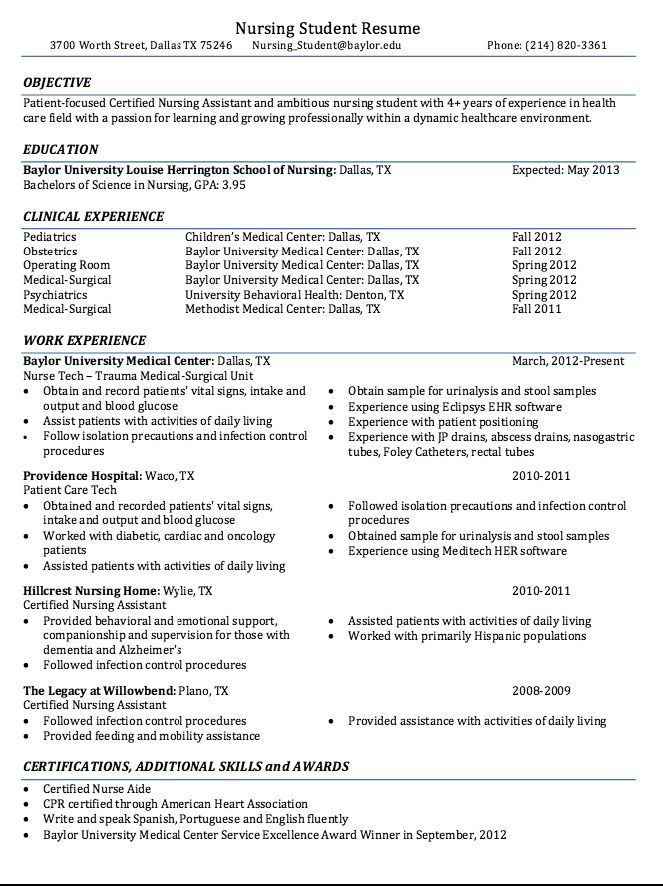 Certified Nursing Student Resume Sample