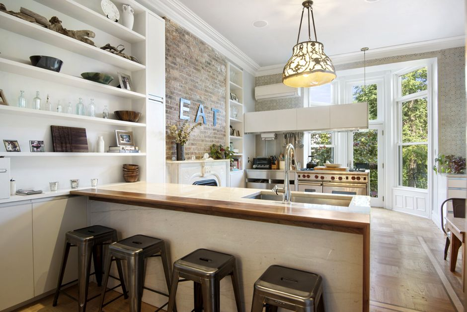 Kitchen Island Extension walnut kitchen island extension and custom built-ins for brooklyn