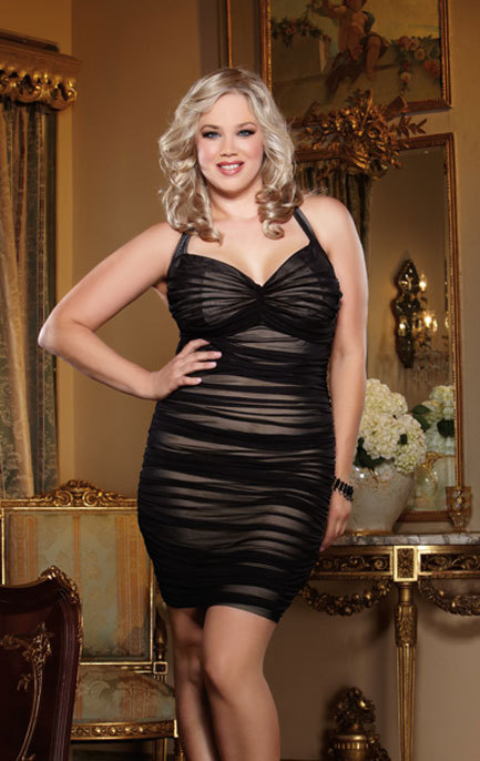 Women's Plus Size Lingerie - Retro Ruched Halter Dress #8712X lingerie dress -  1x-4x