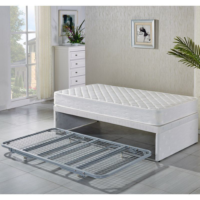 Best King Single White Bed Frame W Trundle 2 Mattresses 400 x 300