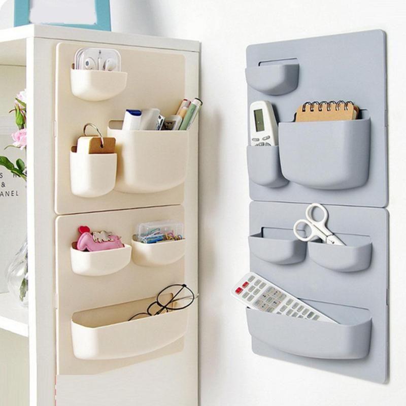 Cup Plastic Wall Mounted Shower Holder Bath Rack Bathroom Box Storage Shelf