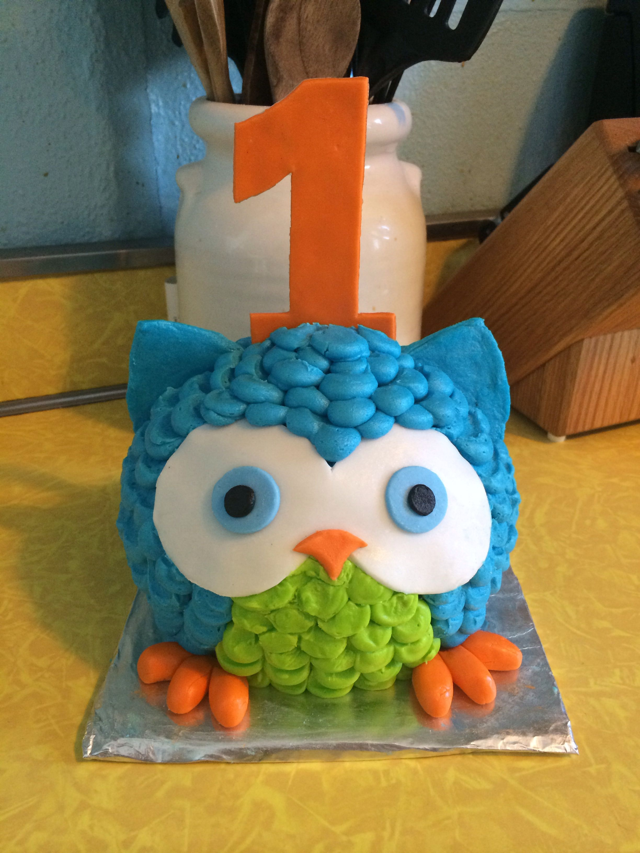 The perfect owl smash cake Boy or girl first birthday Green blue