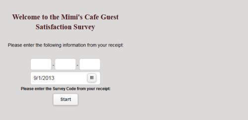 mimi s cafe guest satisfaction survey www tellmimi com customer