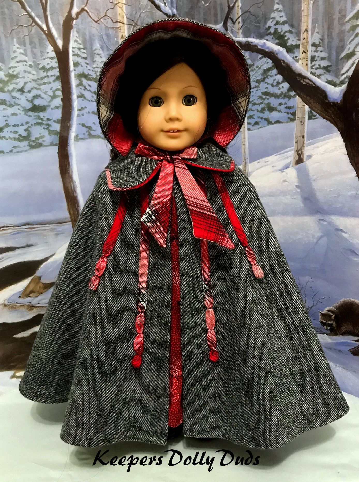 Wool Cape and Bonnet, An Original KeepersDollyDuds Design #dollclothes
