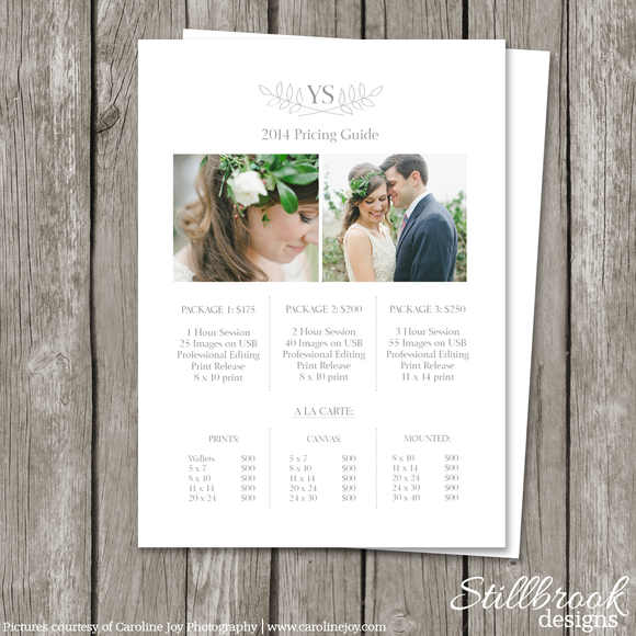 Photography Price List Template Pricing Guide Templates Photo – Price List Design Template