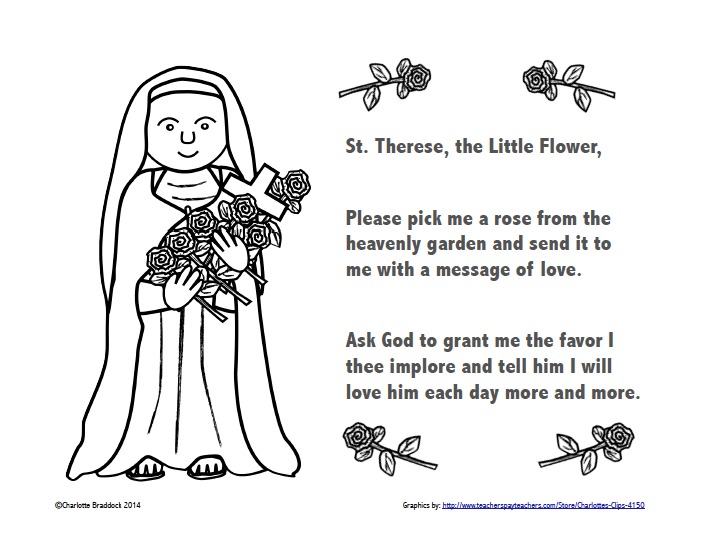 free st therese color and pray printable classroomfreebies