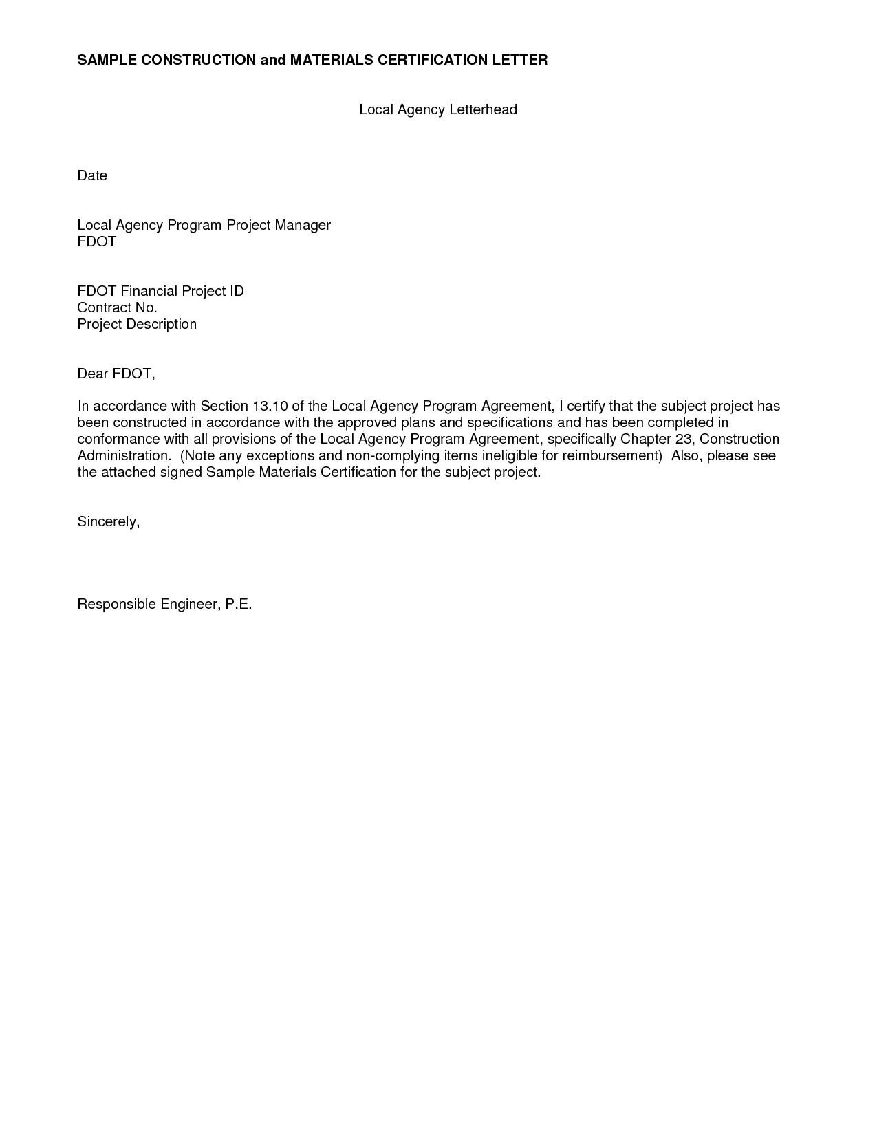 Photos Sample Certification Letter Letters Livecareer Home Design