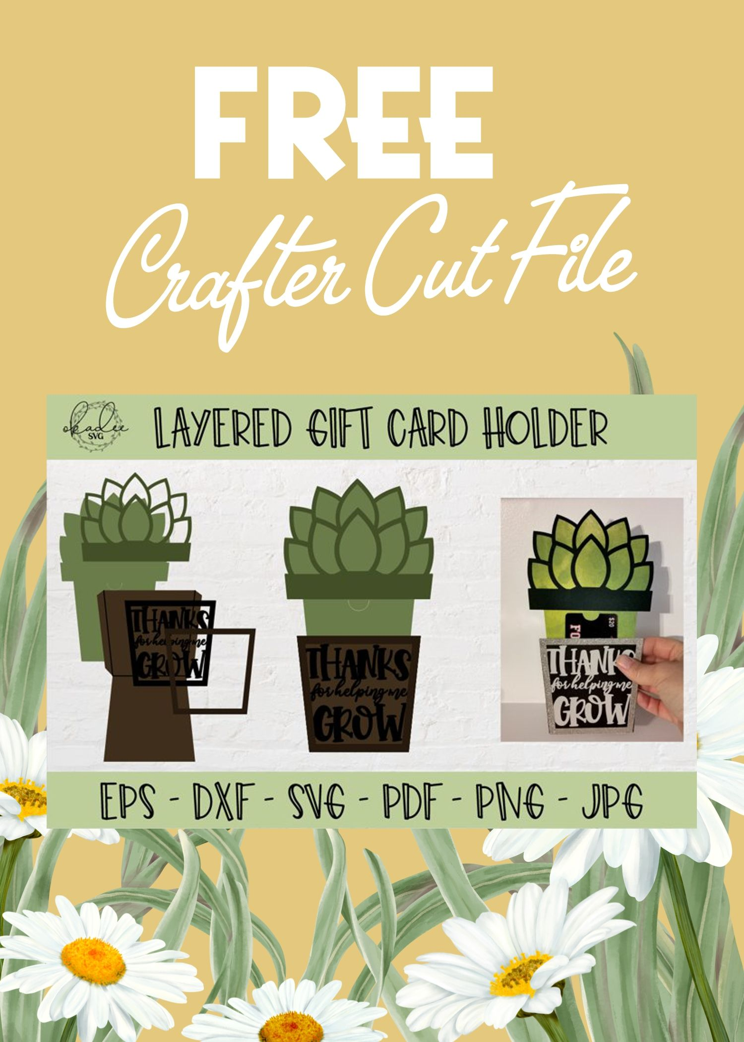 Free Thanks For Helping Me Grow Svg Gift Card Holder Svg By Okadee Svg Gift Card Holder Card Holder Gift Card