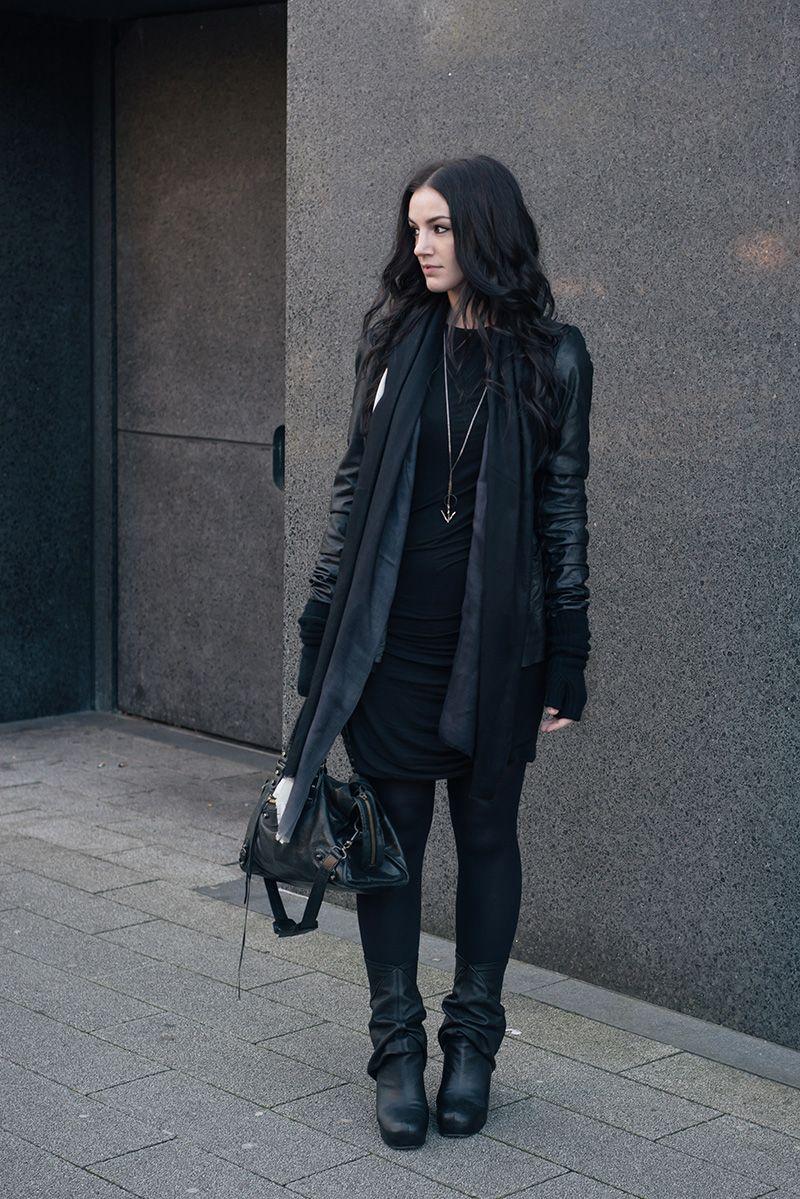 fashion blogger stephanie of faiiint wearing rick owens leather fashion blogger stephanie of faiiint wearing rick owens leather jacket peaked back wedge boots