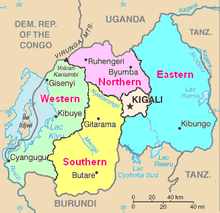 Map Of Rwanda Showing The Five Provinces In Various Colours As Well