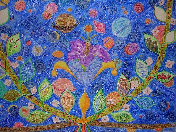 Blue Meditation Art.  Ajna Chakra. Original di JannasCraft su Etsy, $229.00