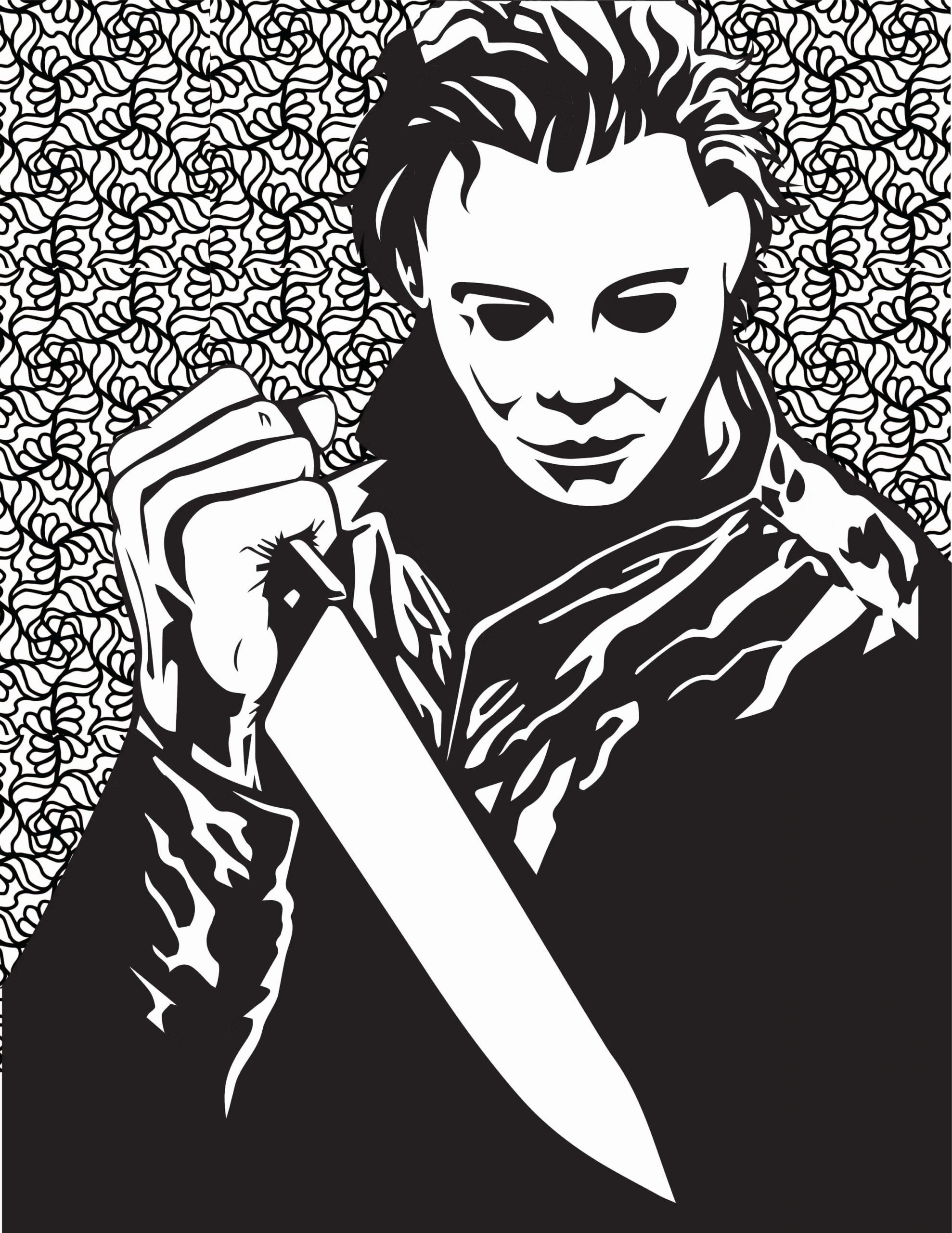 Scary Halloween Coloring Page Elegant Free Horror Movie Printable Coloring Pages Halloween Coloring Pages Michael Myers Halloween Halloween Coloring