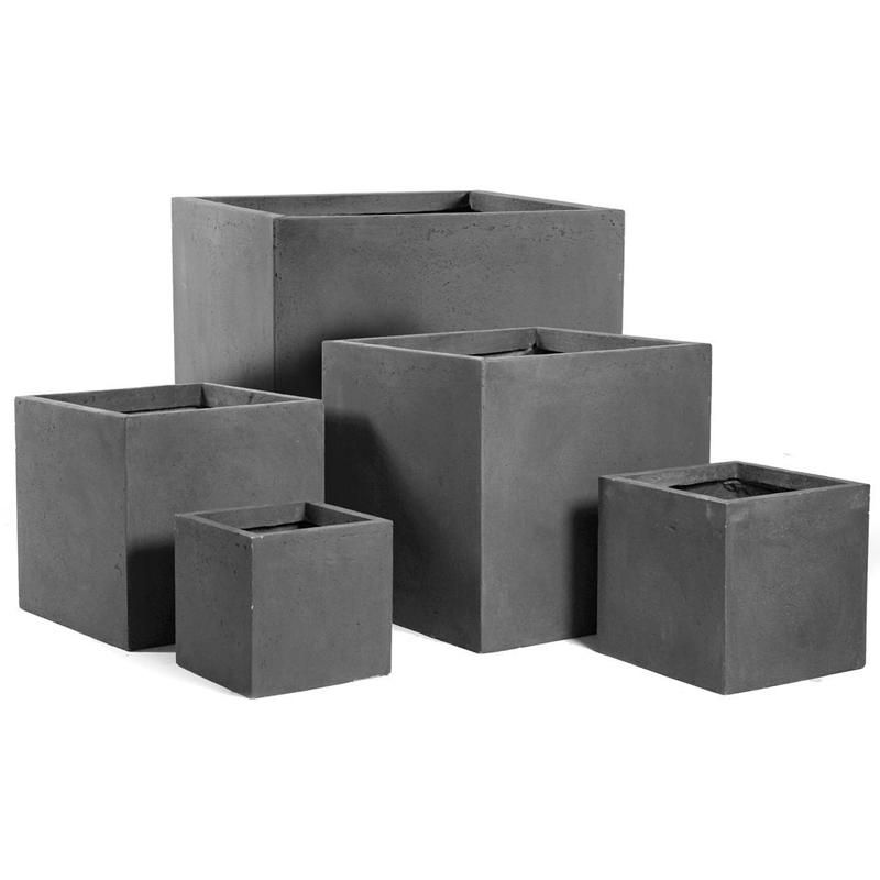 bac plantes cube en fibre de terre 23x23x23cm gris plomb maison facile. Black Bedroom Furniture Sets. Home Design Ideas