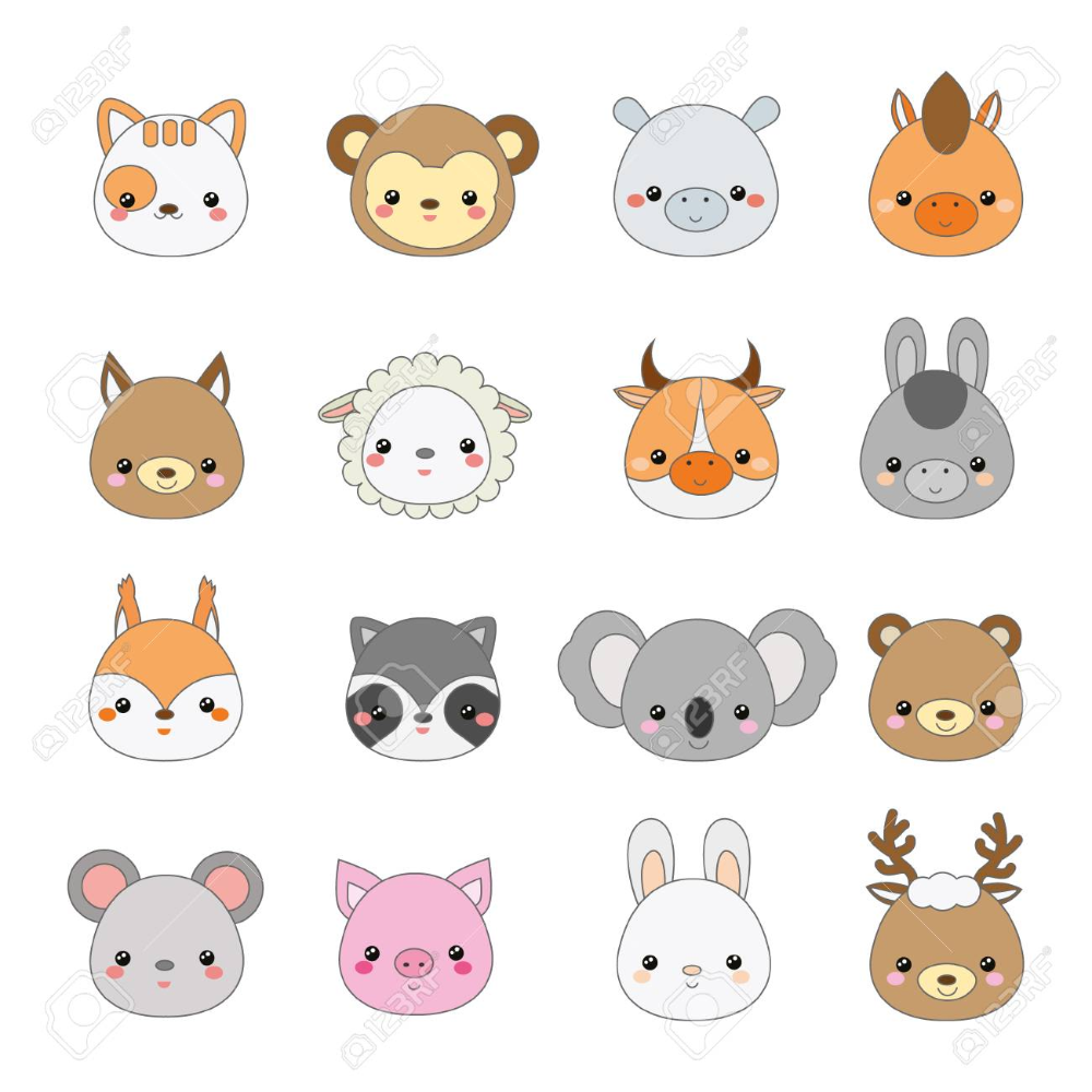 Cute Animals Faces Big Set Of Cartoon Kawaii Wildlife And Farm Cute Animals With Funny Captions Animal Icon Cartoon Animals