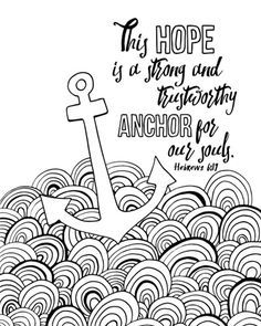 anchor for our souls hebrews 6 19 coloring canvas canvas on demand - Anchor Coloring Page