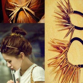 Fashion Gold and Silver Rivets Punk Elastic Hair Rope Headband