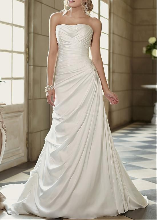 AMAZING CHARMEUSE A-LINE STRAPLESS ASYMMETRICAL WAIST DRAPING WEDDING GOWN WITH BEADED LACE APPLIQUES DRESS