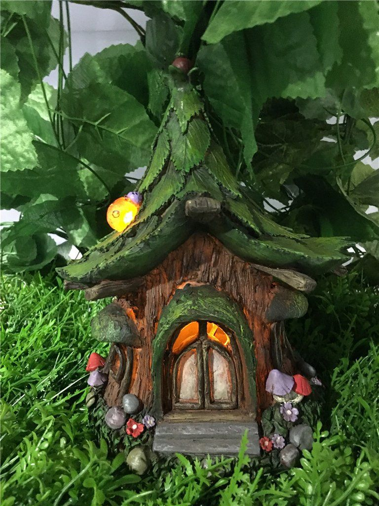 Fairy Garden House With Leaf Roof And Solar Lights