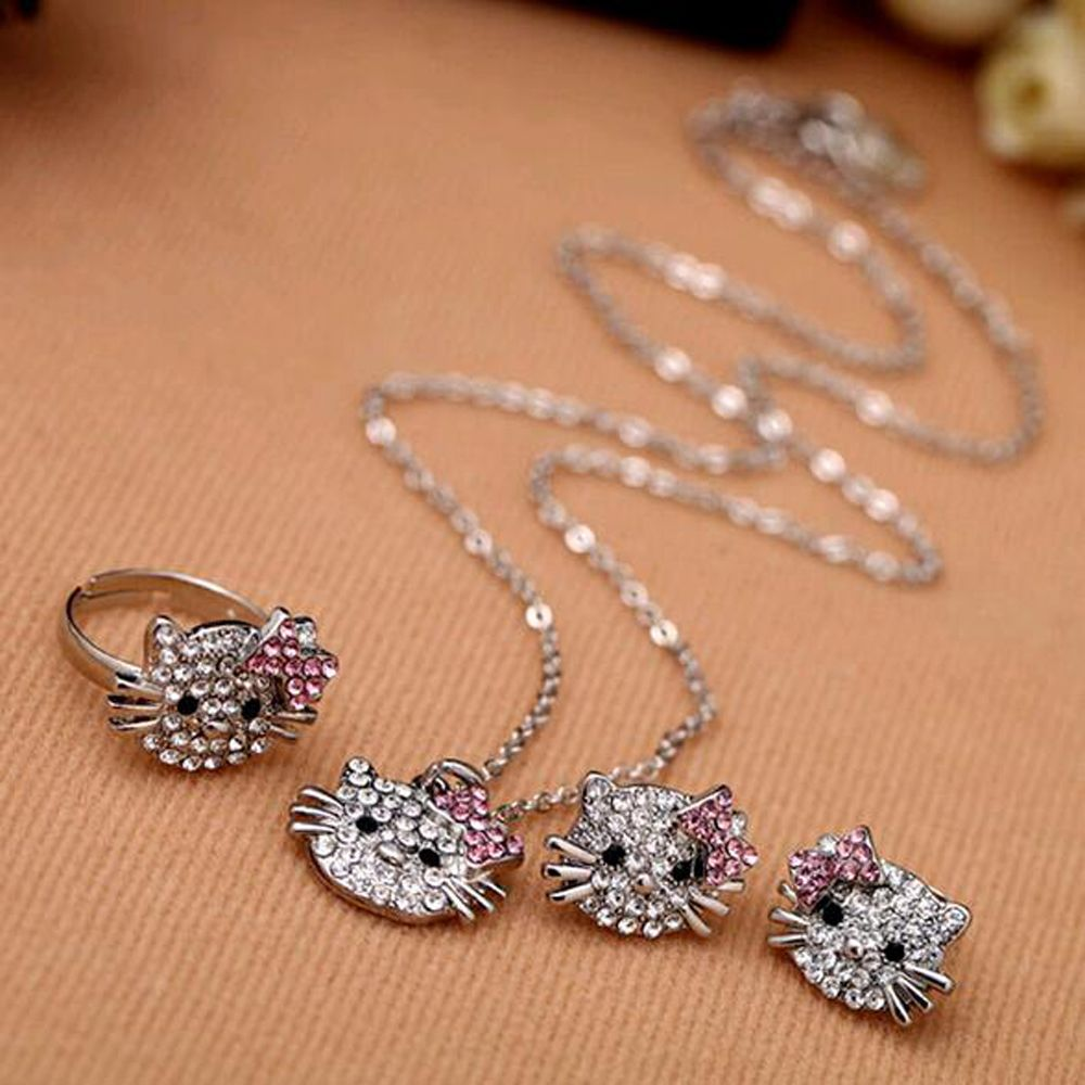 Hello kitty cat rhinestone bowknot fashion ring necklace stud