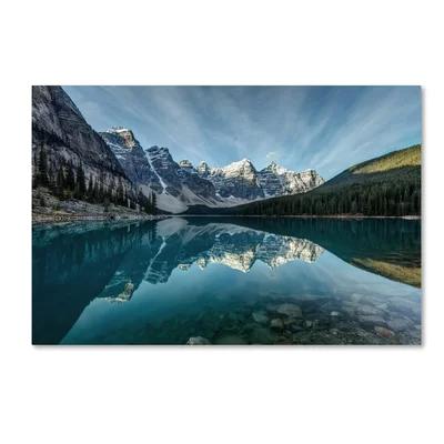 Moraine Lake Reflection Photographic Print On Wrapped Canvas In Blue Fine Art Landscape Landscape Canvas Trademark Fine Art