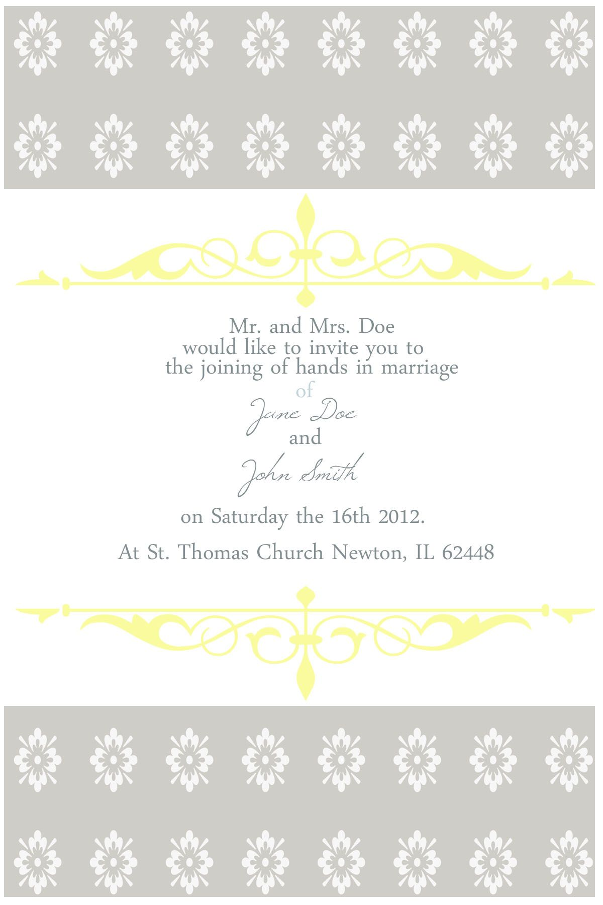 Yellow grey wedding invitation theme. | Ideas for my unmarried ...