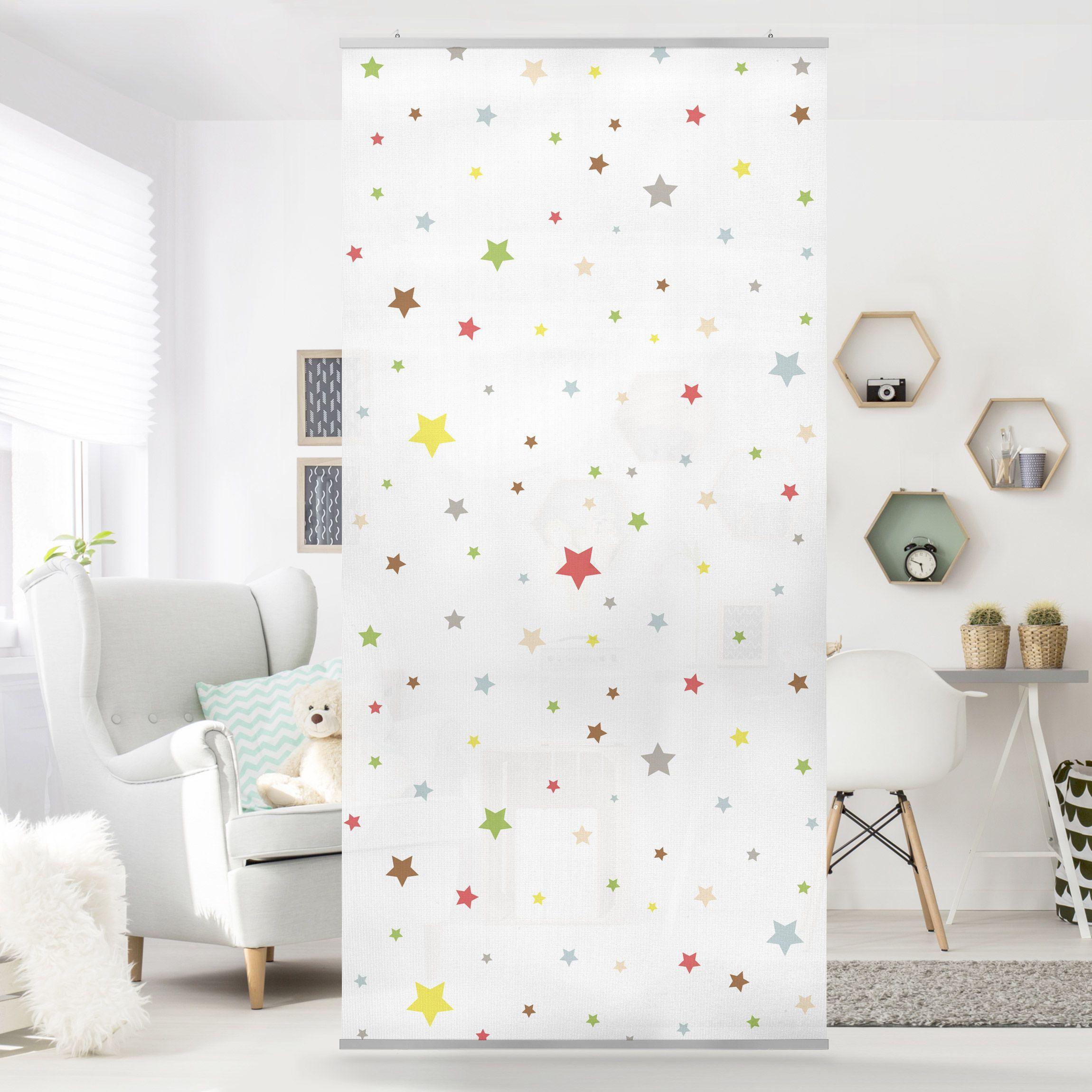 Raumteiler Kinderzimmer No.YK34 Bunte Sterne 250x120cm