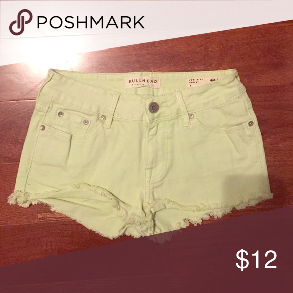 PacSun light green low-rise jean shorts Bought from PacSun. Made by Bullhead Denim Co. Low-rise jean shorts in a light green/lime color. Size 3 but they run a bit small. Only worn a few times. PacSun Shorts Jean Shorts