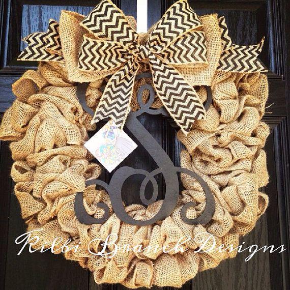 Burlap wreath // Year round wreath // vine monogram center letter