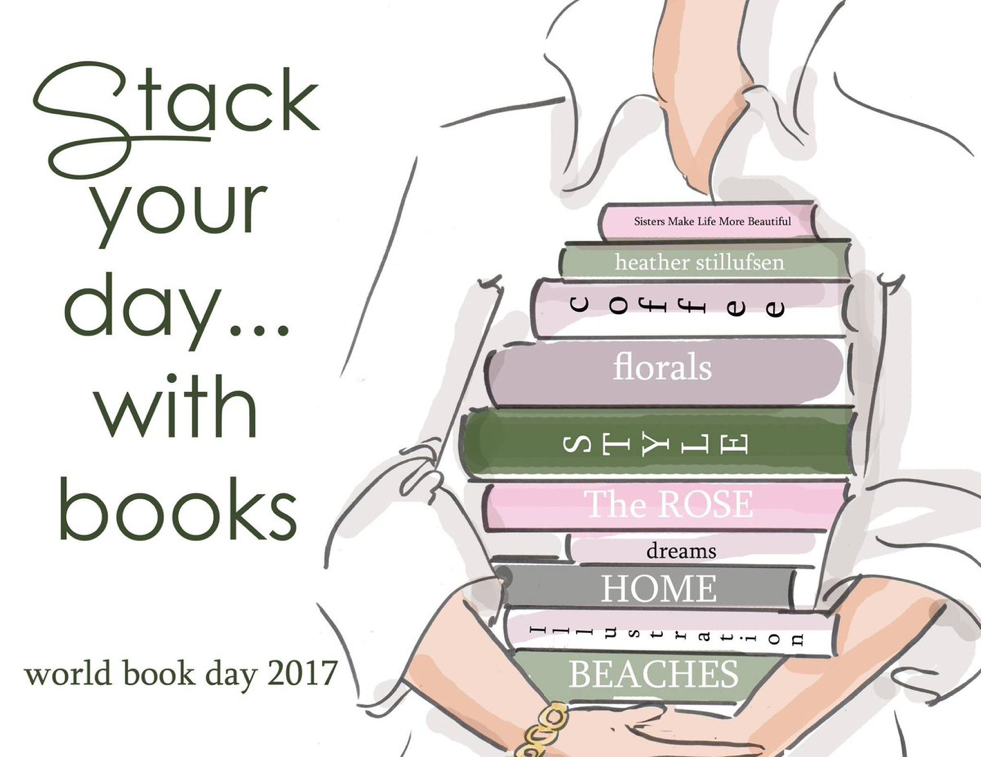 Stack your day... with books. ~ Rose Hill Designs by Heather A Stillufsen