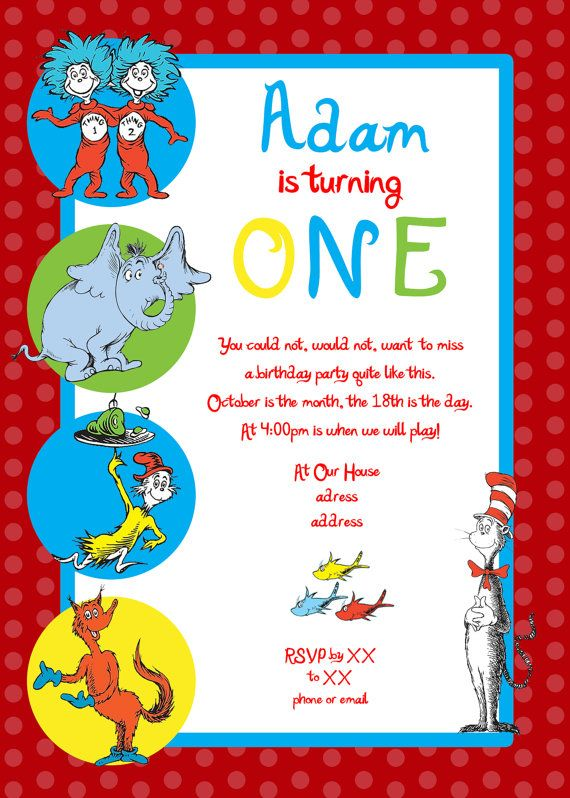 NOTE This listing for a digital design If you would like to – Cat in the Hat Party Invitations