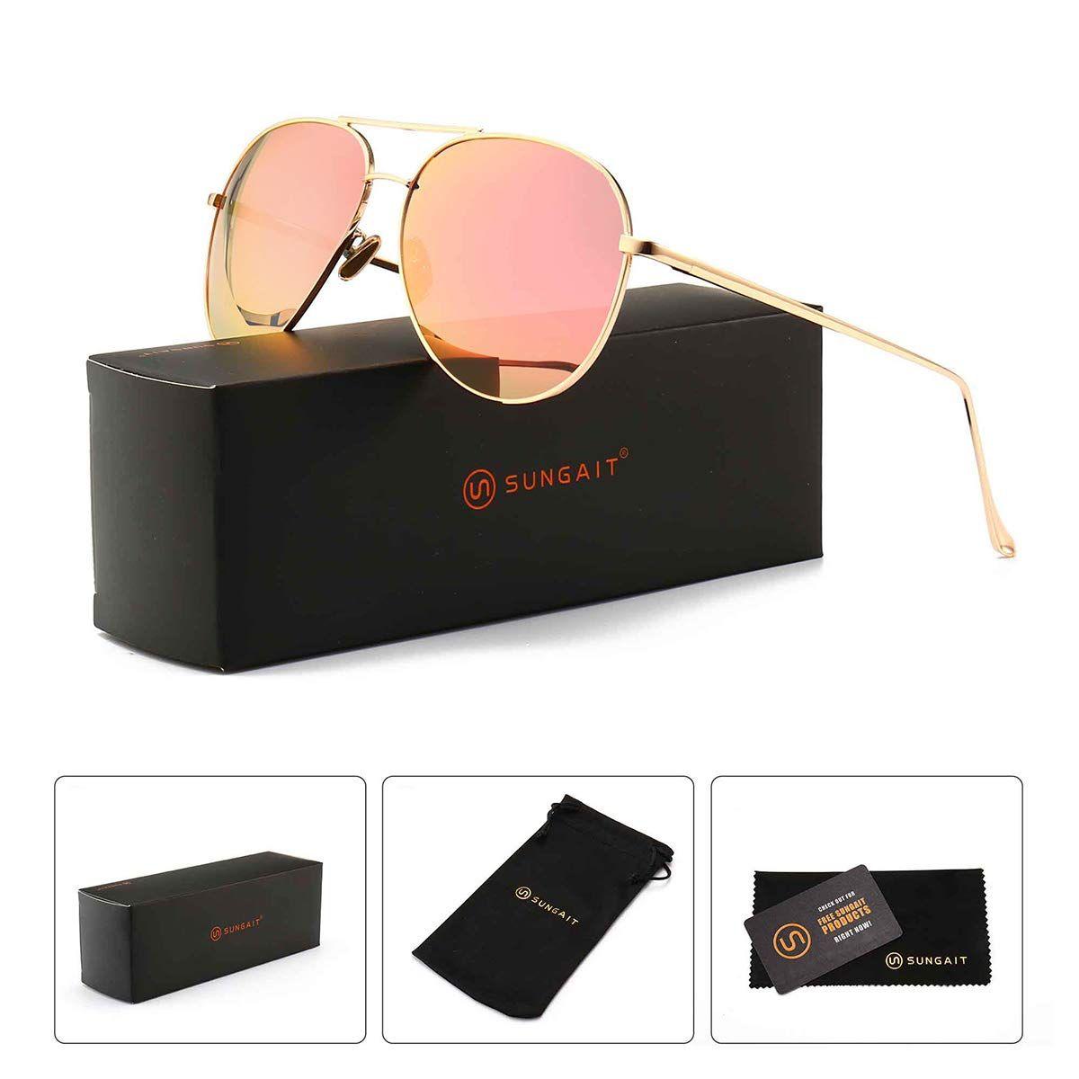 3352c8b9fd4a4 Women s Lightweight Oversized Aviator sunglasses - Mirrored Polarized Lens