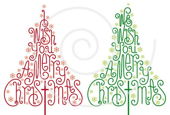Christmas trees with hand-drawn letters, Christmas card, Xmas card