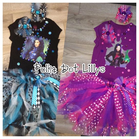 Disney Inspired Descendants Mal Or Evie Tutu Set Your Choice Of Size Fiesta De Maléfica Tortas De Descendientes Disfraz De Mal Descendientes